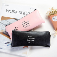1x korean Solid color functional pen bag kawaii pencil bag capacity PU stationery cute pencil box Pencil case School Supplies
