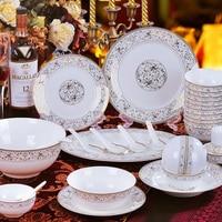 58pcs/set Luxurious Famous Brand Design Bone China Porcelain Dinnerware Porcelain Set Bowl Pot Dish Plate Free Shipping