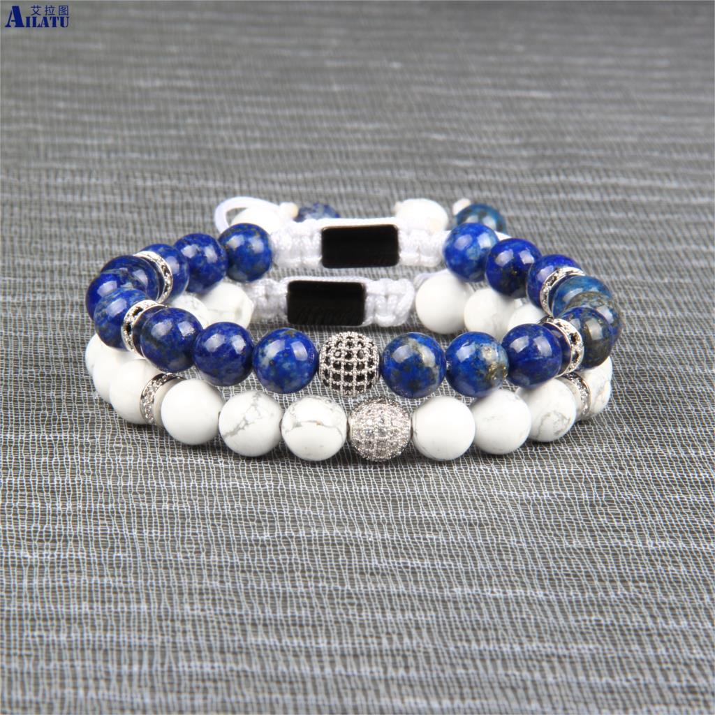 Bracelet en macramé Cz noir et blanc Ailatu avec Lapis Lazuli naturel de 8mm et pierre blanche Howlite de qualité supérieure-in Bracelets ficelle from Bijoux et Accessoires    3