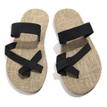 hot sale natural man hemp flip flops summer breathable fashion beach sandal shoes men's casual canvas slides shoes free shipping