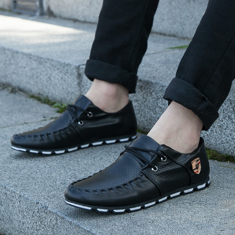 ew Brand Fashion Summer Soft Moccasins Men Loafers High Quality Genuine Leather Shoes black white 42 13