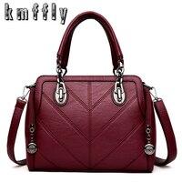 KMFFLY Winter Brand High Quality Luxury Handbags Women Leather Bags Designer Chain Shoulder Bags Top Handle