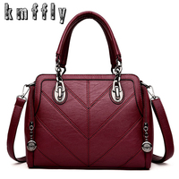 KMFFLY Winter Brand High Quality Luxury Handbags Women Leather Bags Designer Chain Shoulder Bags Top Handle