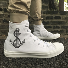 Wen Design Nautical Sailing Anchor Canvas Athletic Shoes White Black High Top Women Men Skateboarding Outdoor Sneakers Trainers недорого