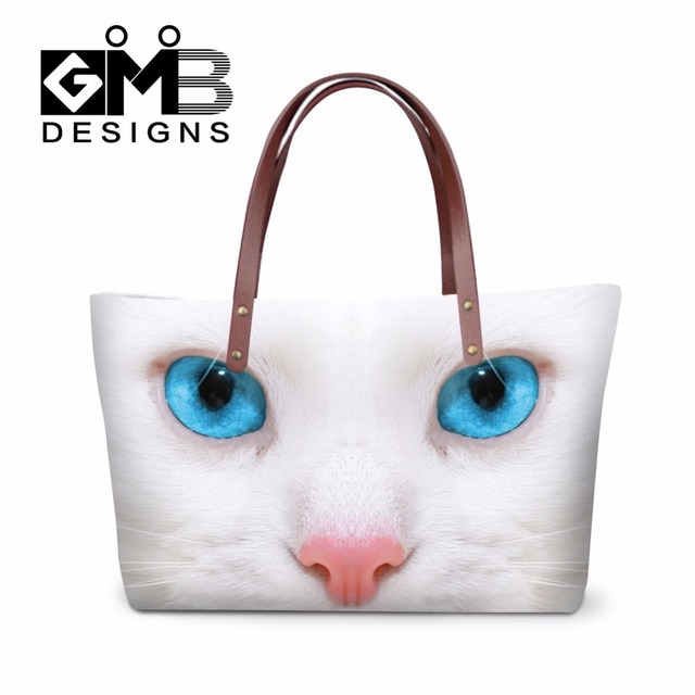 Personalized Summer Shoulder Handbags for Girls Brand top-handle Bags Animal Tote Bags for Women Cat Printed Casual Shopping bag