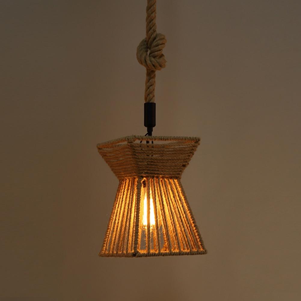 ФОТО A05 Vintage Rustic Hemp Rope Pendant Light Retro Home Decoration Hanging Lamp For Kitchen Island Store Cafe Bar Restaurant