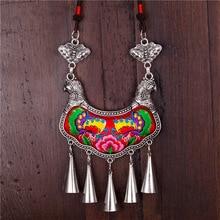 Ожерелья и кулоны ретро этнические Мяо ожерелья классические бабочки в Любви Вышивка керамические бусины нейлоновая веревка Красные Подвески