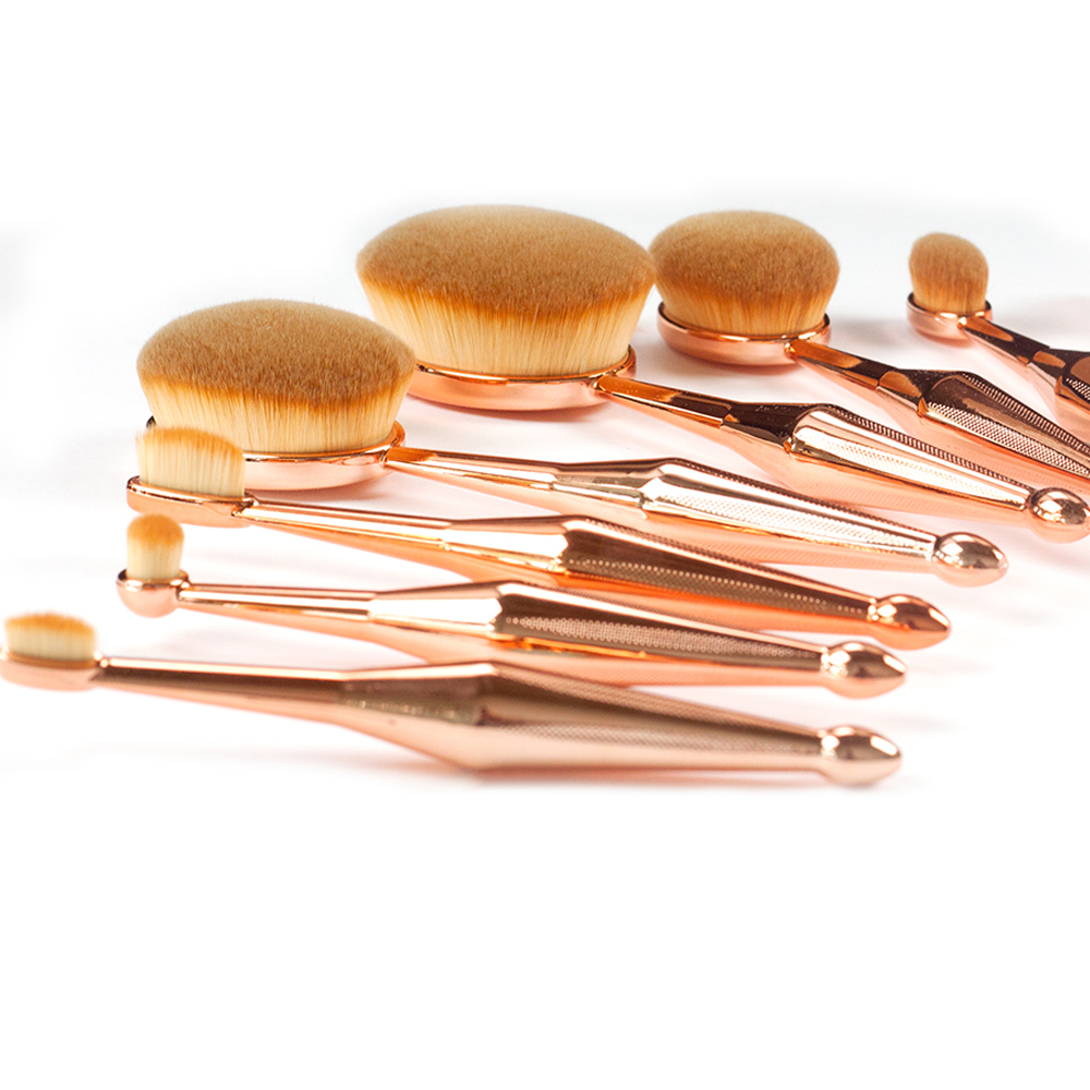 LCBOX 10pcs Face Oval Makeup Brush Foundation BB Cream Flawless Base Powder Puff Blusher Cosmetic Toothbrush Shaped Beauty Tool factory style roof rack side rails bars for nissan rogue x trail 2014 2015 2016