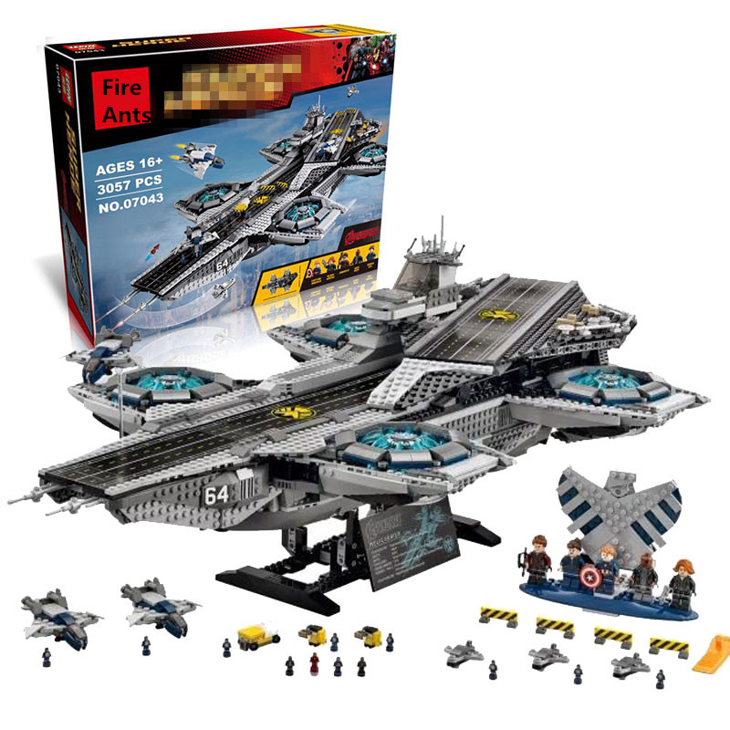 3057pcs Lepin Diy Super Heroes The Shield Helicarrier Model Block Kits Compatible with Legoingly Brick Toys For Children dhl lepin 07043 3057pcs super heroes the shield helicarrier model building kits blocks bricks boy toys compatible 76042