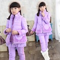 2016 Fall Winter Big Girls 3 Pcs Set Kid Cotton Padded Clothes Children Thicken Fleece Splicing Clothing Vest + Tops + Pant G331