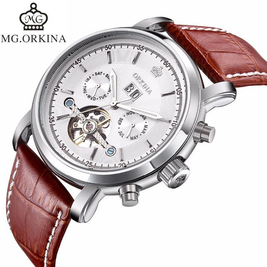 2017 MG.Orkina Mens Watches Top Brand Luxury Tourbillion Day/Date/Month Auto Mechanical Watch Wristwatch Gift Box Free Ship forsining montre homme mens watches top brand luxury day week 24hours tourbillion pu leather wristwatch gift box free ship