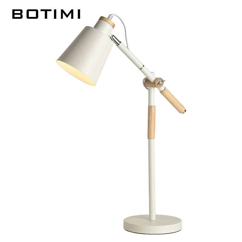 BOTIMI Modern Table Lamp For Bedroom Iron Desk Lamp Luminaria de mesa Wooden Bedside Lights E27 Reading Lighting Fixtures sunli house 3d night lights 3d humidifier moon lamp luminaria 3d oil diffuser led lighting for indoor room luminaria de mesa