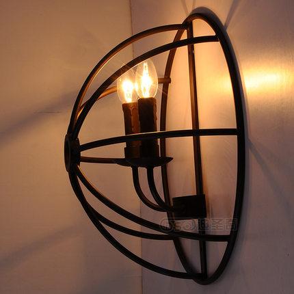 ФОТО American retro iron wall LOFT industrial style restaurant 2 Vintage semicircle globe lamp