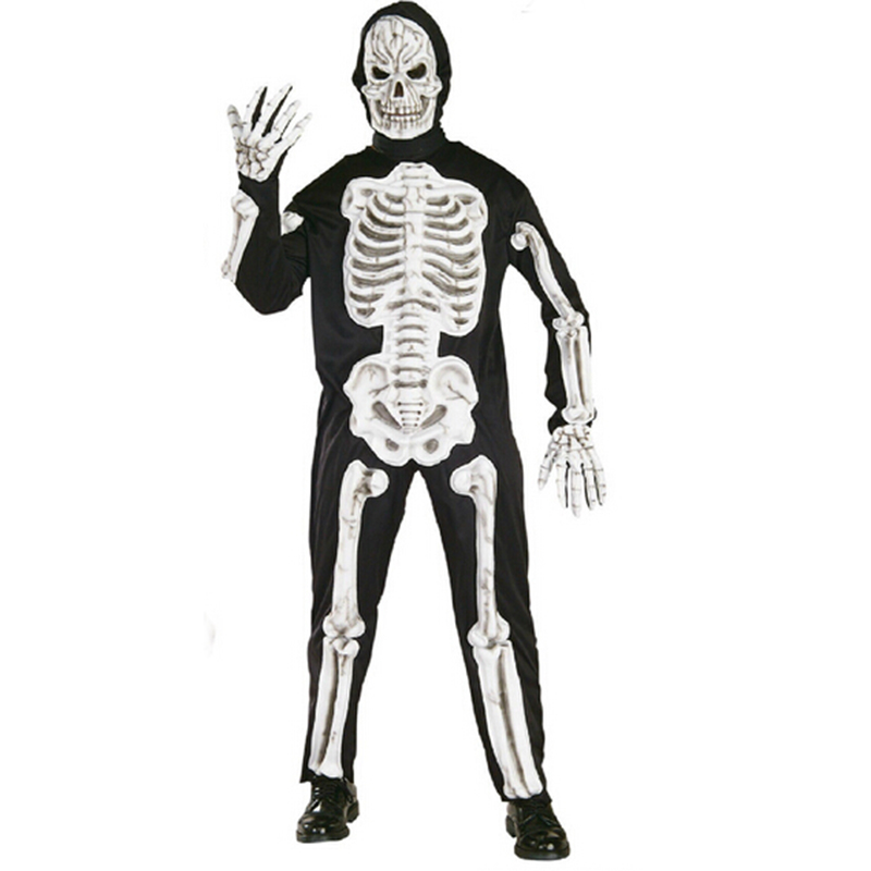 Halloween Dress Reaper Scary Skull Skeleton Print Costume Totally Skelebones Costumes Long Jumpsuit Zentai Suit