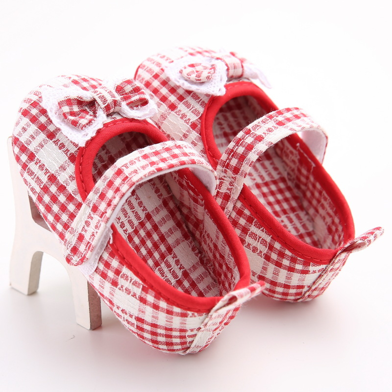 Raise Young Spring Summer Cotton Baby Girl First Walkers Butterfly-knot Gingham Toddler Girl Shoes Newborn Infant Footwear 0-18M