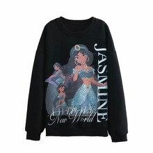JXYSY hoodies women harajuku cotton print cartoon Aladdin Lamp regular oversize sweatshirt plus size tops