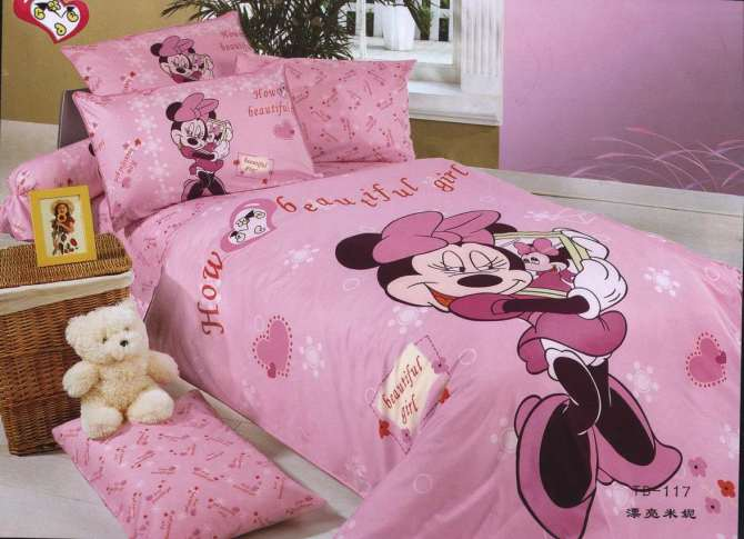 Pink Color Minnie Mouse Bedding Single Twin Size Bed Duvet