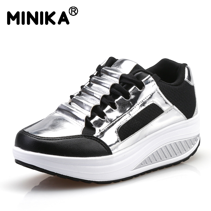 Minika 2017 Women Casual Shoes Wedges Platform Swing Shoes Tenis Feminino Sapato PU Leather Breathable Height Increasing Shoes free shipping 2017 summer style women casual shoes women s swing shoes breathable gauze platform shoes single elevator shoes