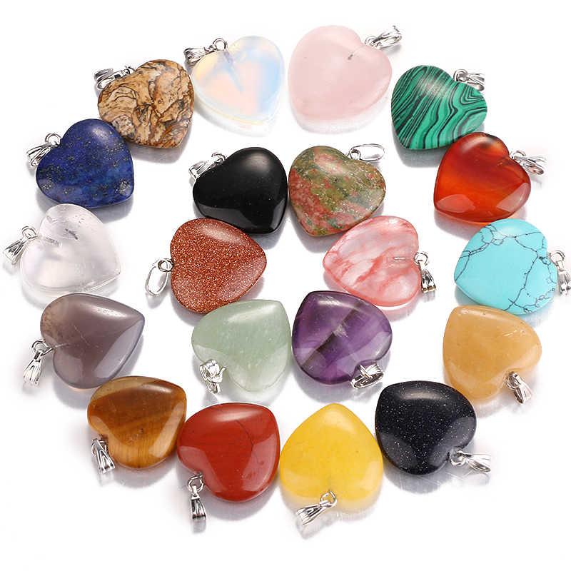 ขายส่ง 2017 ชิ้น/ล็อตทุกชนิดหินธรรมชาติ heart charm จี้เครื่องประดับที่มีคุณภาพสูง 20 มม., dz136 สินค้าฟรี