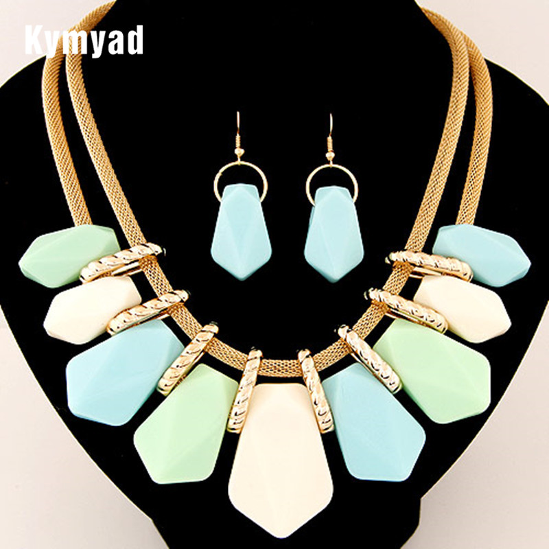 Kymyad Candy Color Fashion Jewelry Sets Geometric Necklaces & Pendants Multilayer Statement Necklace Earrings Sets For Women chic multilayered coin geometric necklace for women