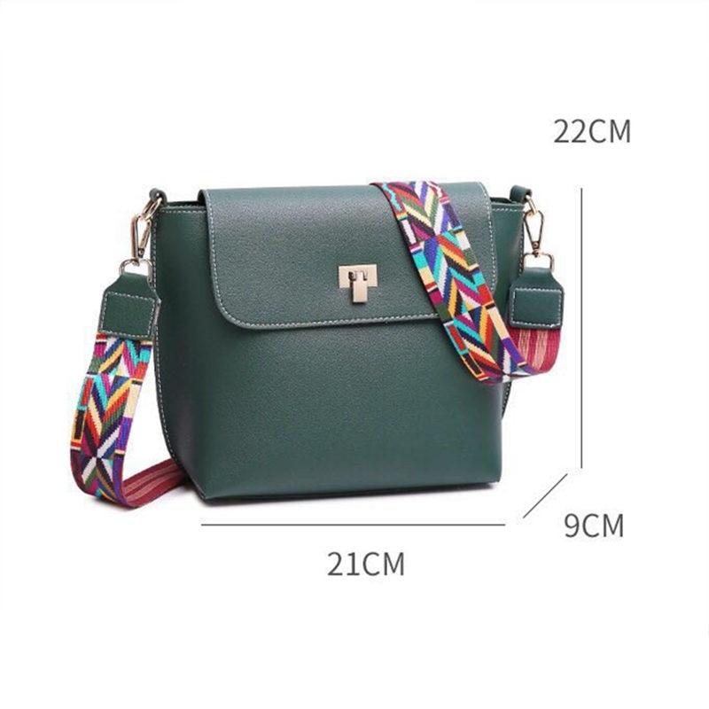 New fashion Colorful Strap Bucket Bag Women High Quality Pu Leather Shoulder Bag Brand Desinger Ladies Crossbody Bags E40