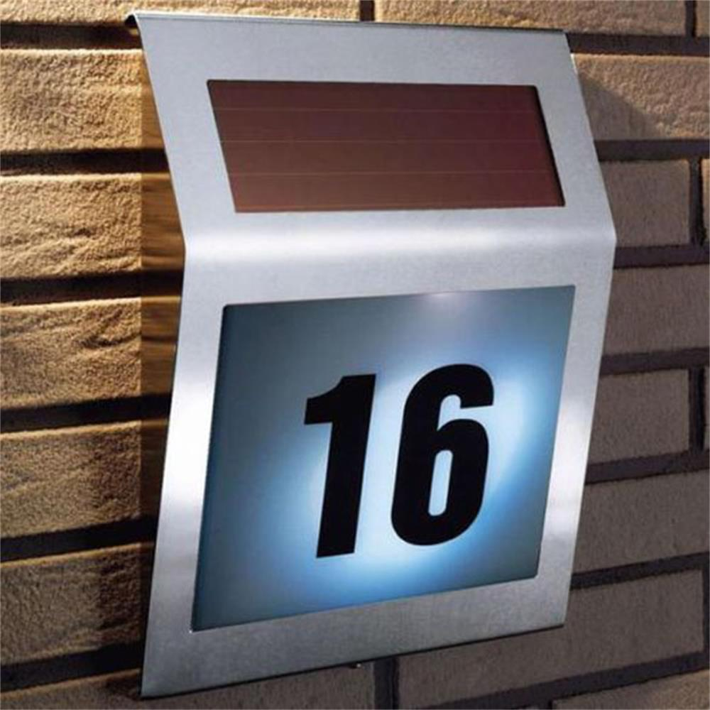 Outdoor Solar Light Stainless Steel Solar Powered 3LED Illumination Wall Doorplate Lamp Garden Street Alphanumeric Number Light