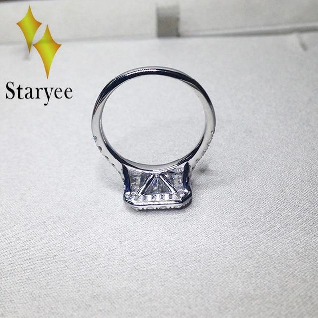 Certified Moissanite Engagement Ring Lab Grown 1.7ct Princess Cut Charles Colvard Moissanite Halo Rings 18K Real White Gold