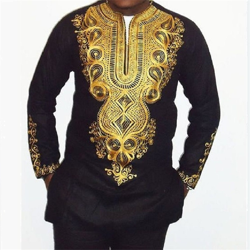African clothing 2018 African dashiki style national wind printing V-neck long sleeve men's T-shirt Plus size M-2XL Black