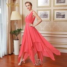 VOA Georgette Silk Sexy Party Dress Women Runway Summer Club Long Dresses  Deep V Neck Sleeveless b34ca816e10e