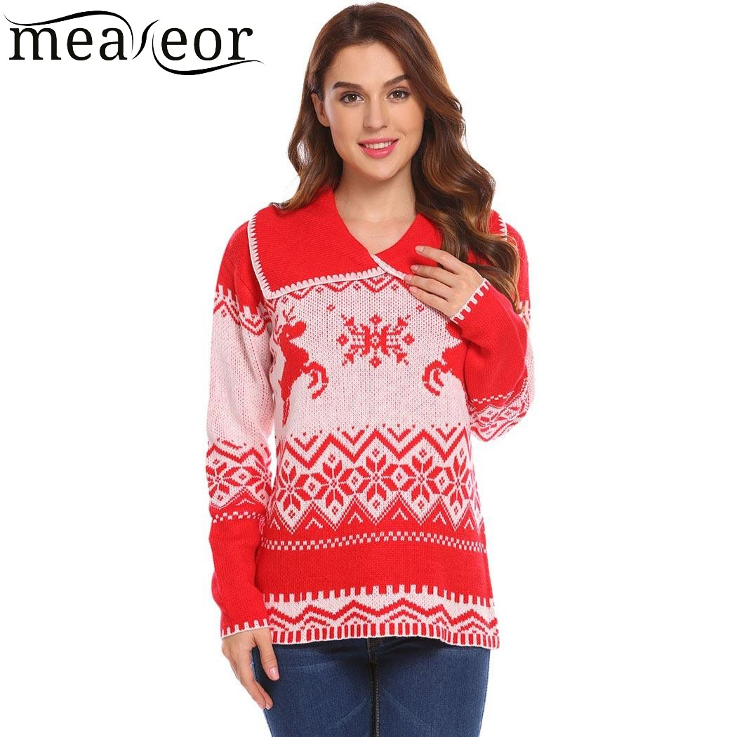 Meaneor 2018 Women Christmas Knitted Casual Warm Pullover Sweater Sailor Collar Long Sleeve Printed Sweater suit women tops