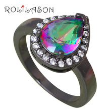 So Beautiful Rainbow Zirconia Silver Stamped Crystal Wedding Rings Health Fashion Jewelry USA size #6#7#8#9 OR766