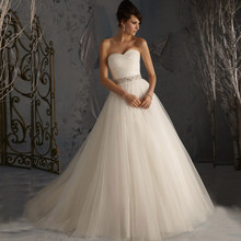 Princess Bridal Gowns A-line Soft Tulle Low Back Vintage Plus Size Wedding Dresses With Beaded Sequin Sash CGT109