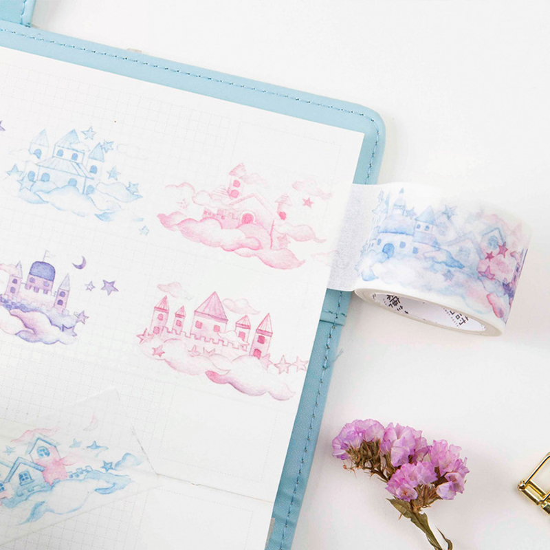 3cm Wide Masking Washi Tape Cloud Castle Letter Cover Label Scrapbooking Album Calendar DIY Craft Decor Kids Gift