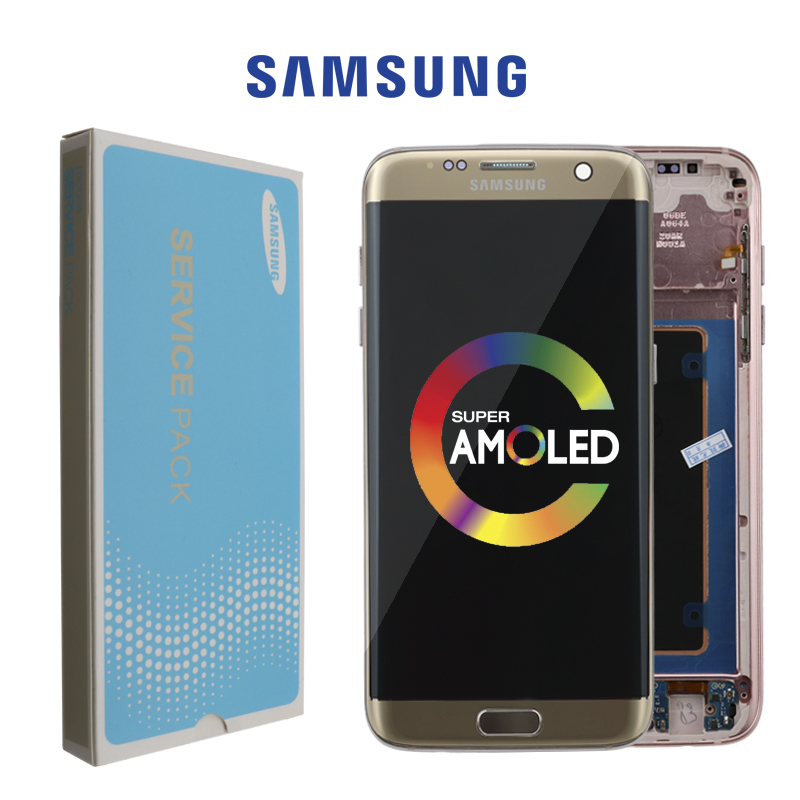 ORIGINAL 5.5'' AMOLED Display With Burn Shadow Ghost Image For SAMSUNG S7 Edge Pantalla G935 G935F LCD With Frame Touch Screen