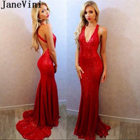 JaneVini Blingbling Sequined Prom Dresses Red Long Tight Fitted Mermaid Evening Dress Prom Gown Sweep Train Backless Party Wear