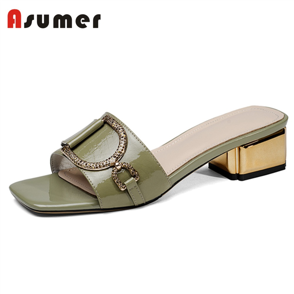 ASUMER Shoes Sandals Mules Rhinstone Square Med-Heels Genuine-Leather Fashion NEW Metal