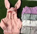 2016 New Spring&Autumn Full Striped Animal Three-dimensional  Rabbit Ear Solid Hooded Coat Baby Girls Jacket Cute Brand Outwear
