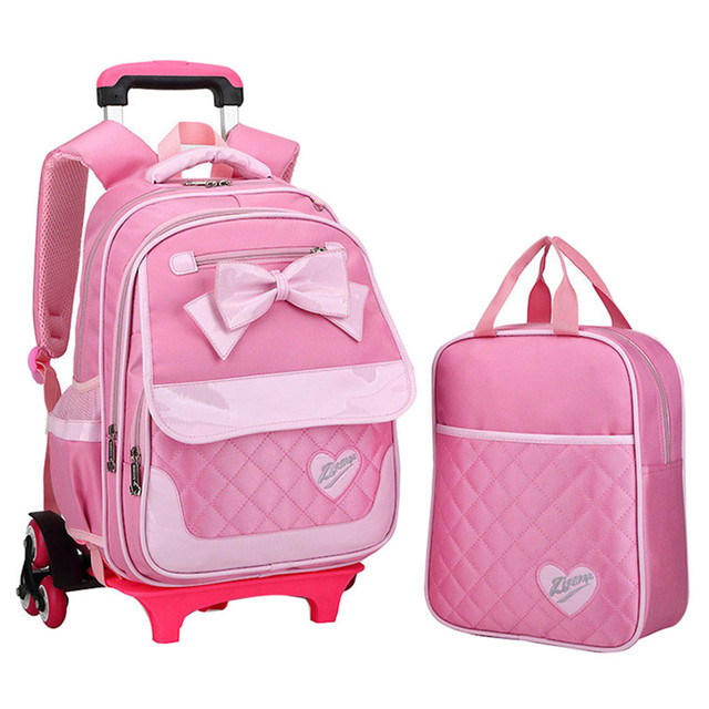 Korean Style Children Backpack Kids Bow Cute Pink A Set Detachable Trolley School Bag Girls Wheeled