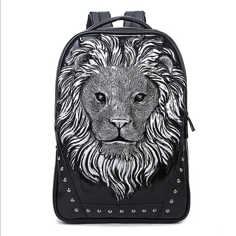 Fashion Backpack Women Backpacks Men Backpack Famale 3D Printing Lion Rivet Backpacks Women School Bags For Teenagers Travel Bag tcttt new 2016 travel bag women laptop backpacks girl brand rivet backpack fashion chains knapsack school bags for teenagers