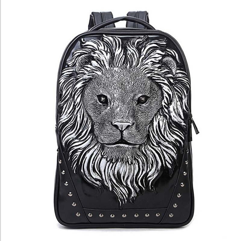 Mode sac à dos femmes sacs à dos hommes sac à dos Famale 3D impression Lion Rivet sacs à dos femmes sacs d'école pour adolescents sac de voyage