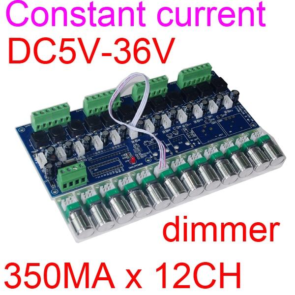 1 pièces courant constant 12 canaux DMX512 contrôleur led décodeur, variateur, pilote, DC5V-36V 350MA * 12CH pour RGB led bande lumières lampe