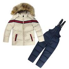 Hiver Vêtements Set 2 PCs Vers Le Bas Manteau + Salopette Garçons Ski Costumes Chaud Coupe-Vent Outwear Filles Habits de Neige Vestes + écharpe pantalon 2-6 T Enfants