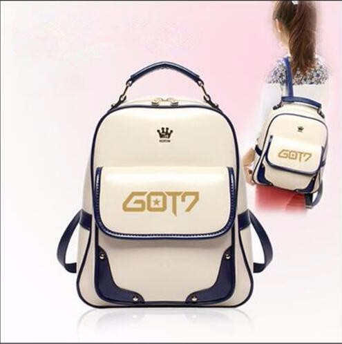 Fashion Korea kpop 2017 GOT7 Imperial crown Brand G-Dragon GD ONE OF PU Students logo canvas shoulder bag mountaineering tourism