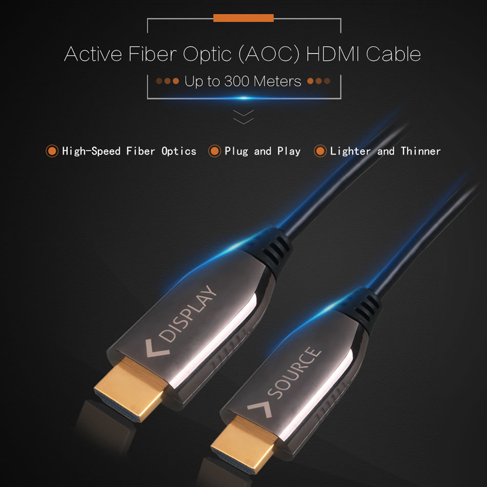 Ultra Slim Active Fiber Optic AOC High Speed 4K HD 60Ghz 1.4 / 2.0 Cable - HDMI Active Optical Cable M/M 5 10 20 30 Meters
