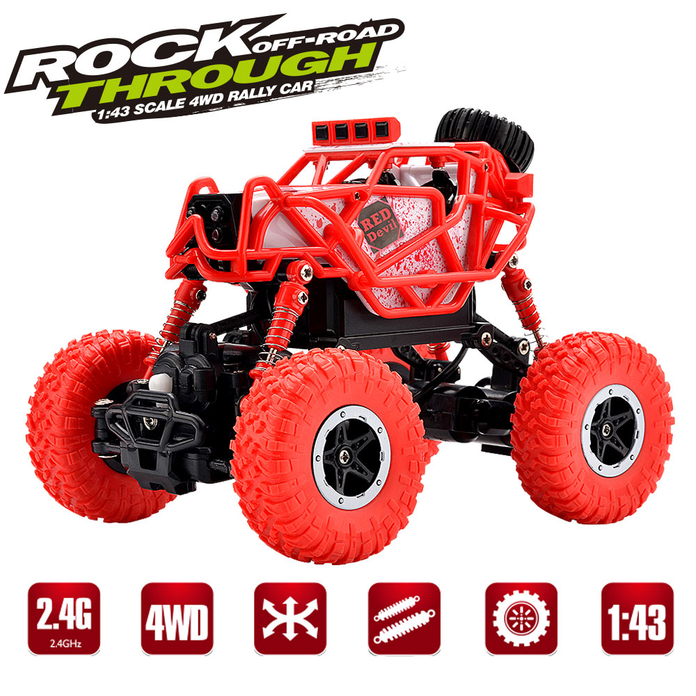 RC Rock Crawler Car 4WD 4 Modes Steering 2.4Ghz Radio Control Toy Monster Truck Off Road Mini Cars 1:43 Best Toys for Boys