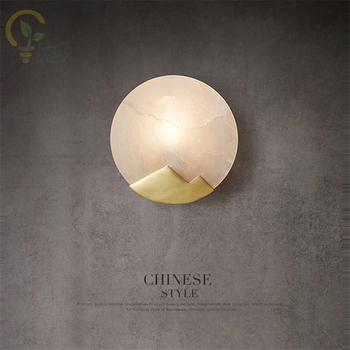 Nordic Modern Simple Marble LED Wall Lamp Bedroom Headway Living Room Background Copper Wall Light Fixtures Hotel Wall Sconce