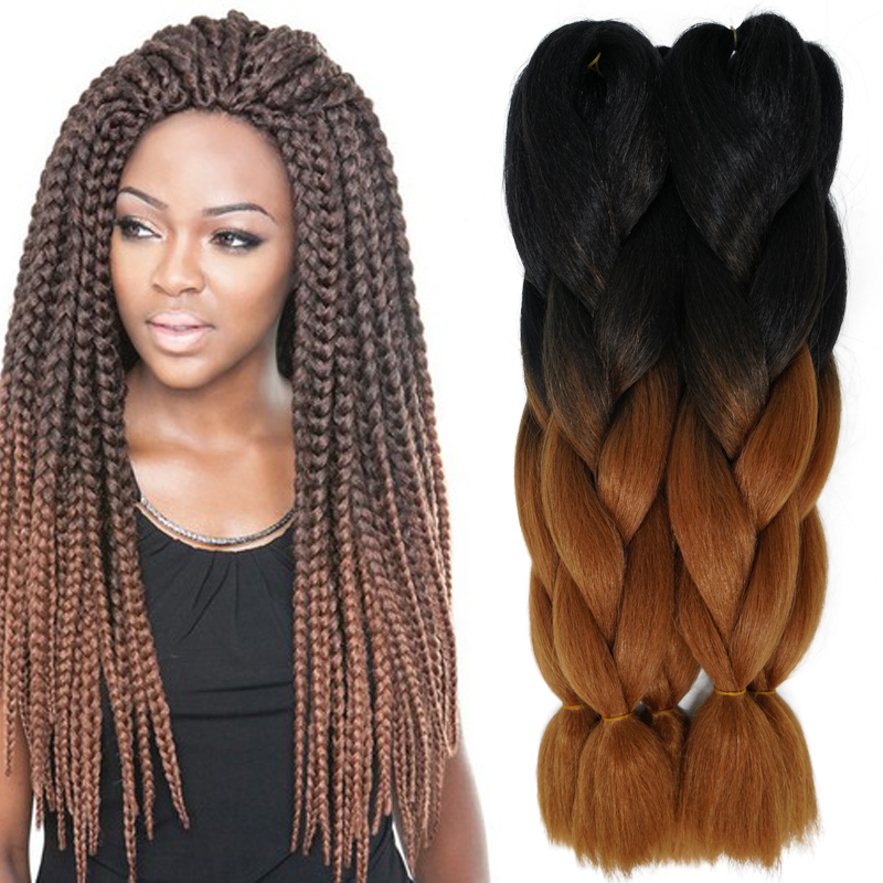 24inch 100g Synthetic Braiding Hair Two Tone Ombre