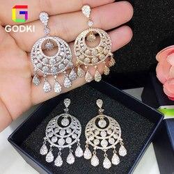 GODKI круглой формы кисточкой падение кубического циркония для женщин обручение серьги ювелирные изделия вечерние подарок