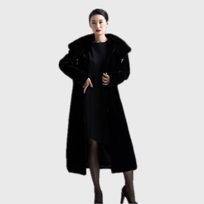 a89e7d13d US $253.04 |Clobee Women faux fur Coats 2017 Women Elegant Black Faux Fur  Long Coat With Fake Mink Fur Collar Thick Warm Female Jackets M529-in Faux  ...