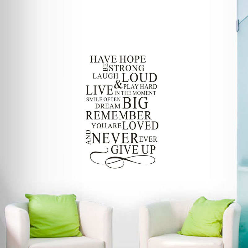 Vinyl Wall Decals Have Hope Be Strong Laugh Loud Quote Wall Stickers